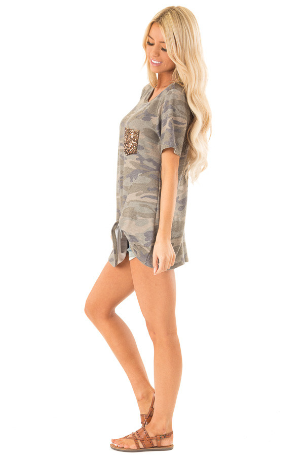 Olive Camo Top with Gold Sequin Pocket and Front Twist Knot side full body