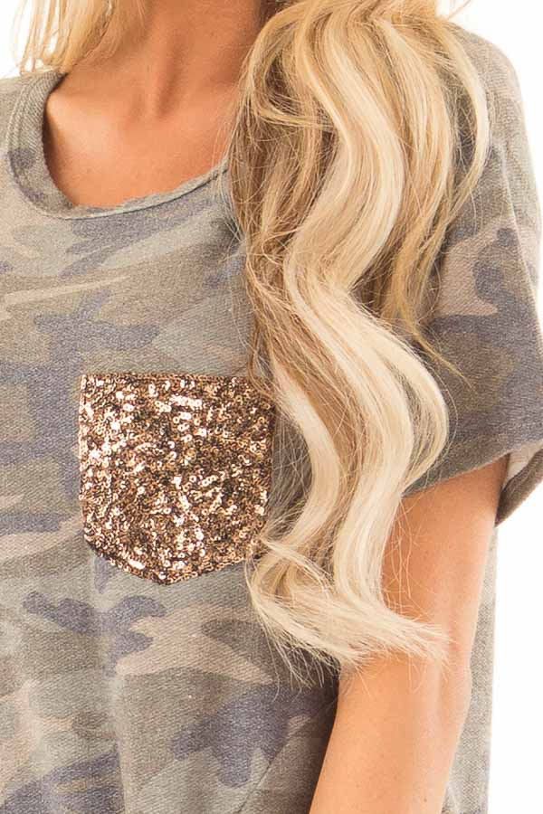 Olive Camo Top with Gold Sequin Pocket and Front Twist Knot detail