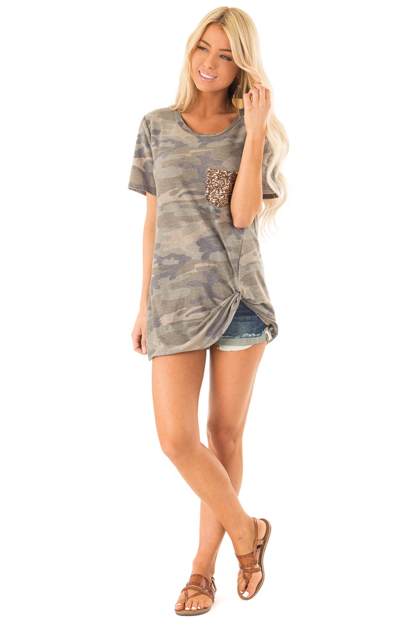 Olive Camo Top with Gold Sequin Pocket and Front Twist Knot front full body