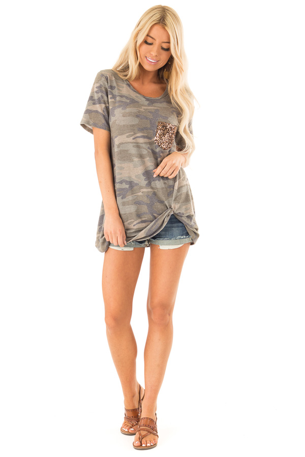 Olive Camo Top with Gold Sequin Pocket and Front Twist Knot back full body