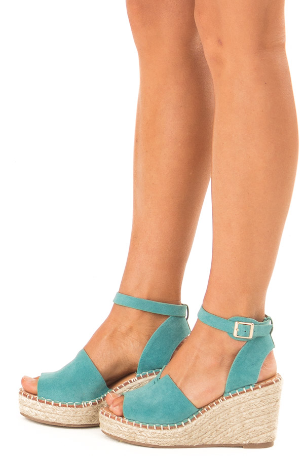 Turquoise Faux Suede Espadrille Wedge Sandal side view