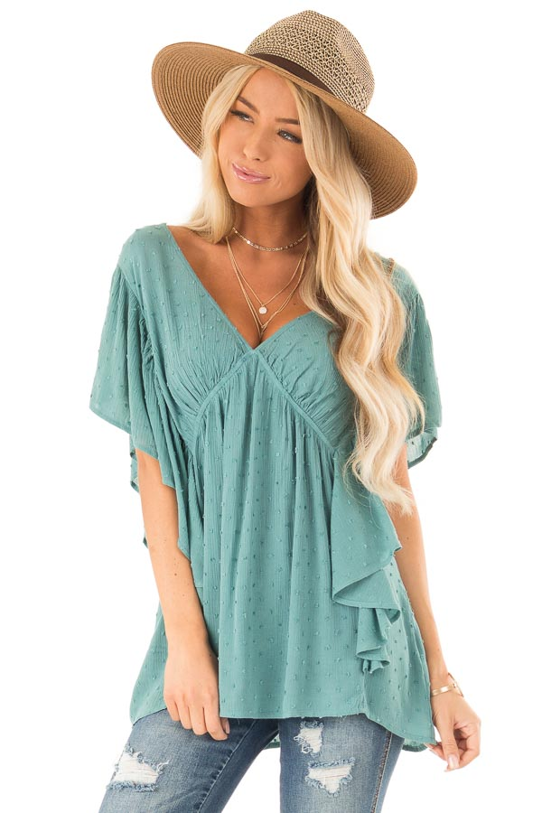 Teal Deep V Neck Swiss Dot Top with Flowy Sleeves front close up