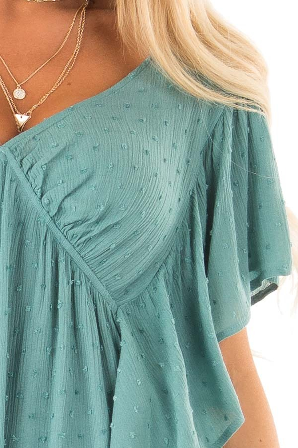 Teal Deep V Neck Swiss Dot Top with Flowy Sleeves detail