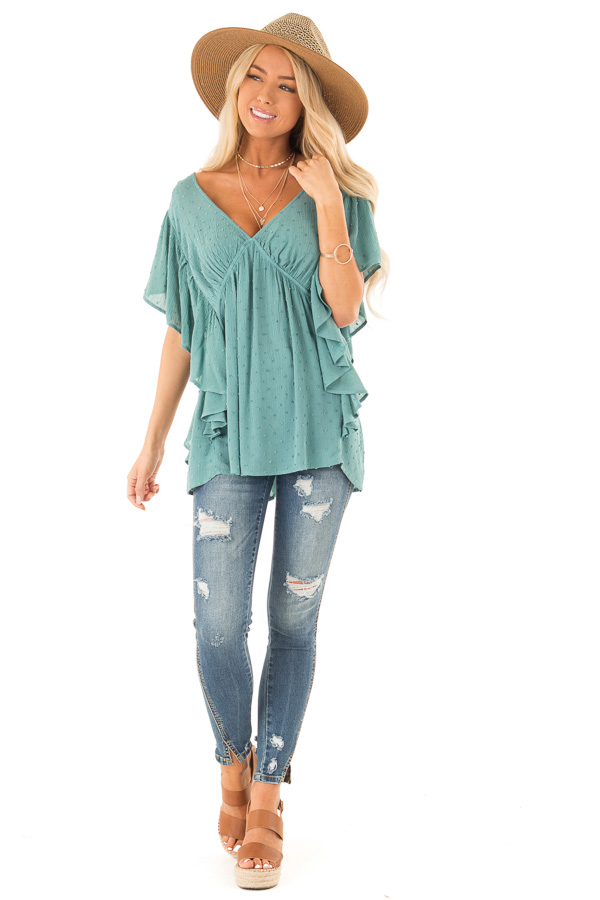 Teal Deep V Neck Swiss Dot Top with Flowy Sleeves front full body