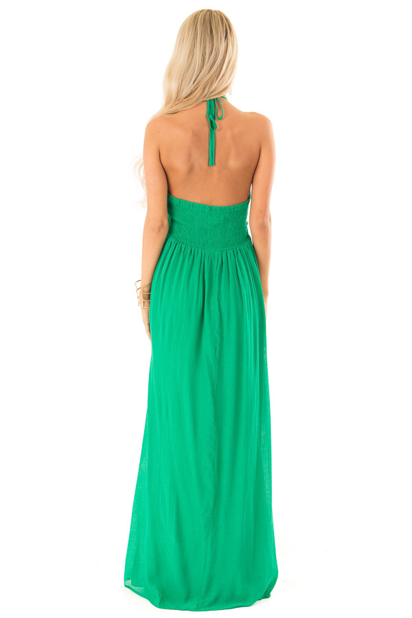 Kelly Green Halter Maxi Dress with Lace Trim Bodice back full body