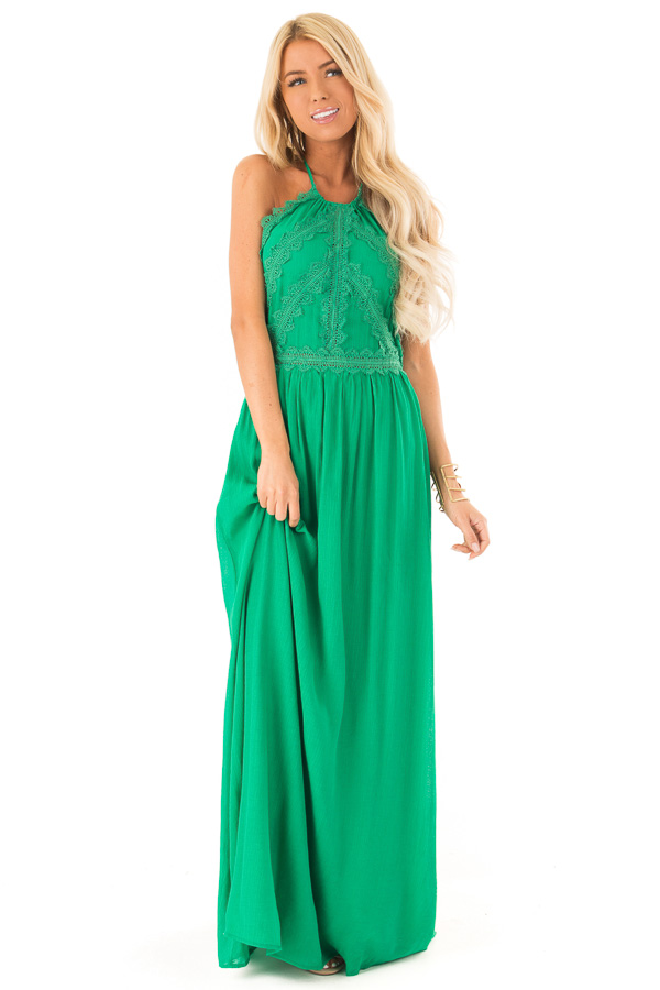 Kelly Green Halter Maxi Dress with Lace Trim Bodice front full body