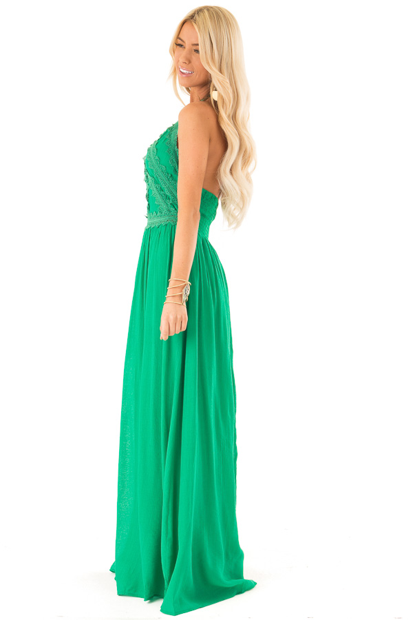 Kelly Green Halter Maxi Dress with Lace Trim Bodice side full body