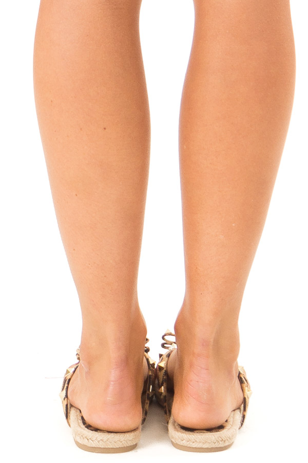 Caramel Leopard Print Sandal with Bow and Gold Studs back view