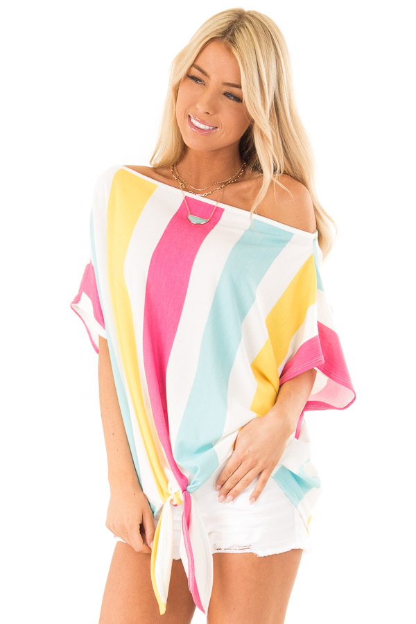 Colorful Striped Off the Shoulder Top with Front Tie front close up