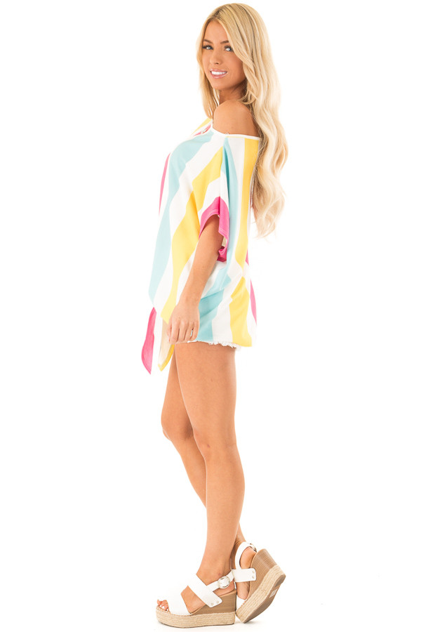 Colorful Striped Off the Shoulder Top with Front Tie side full body