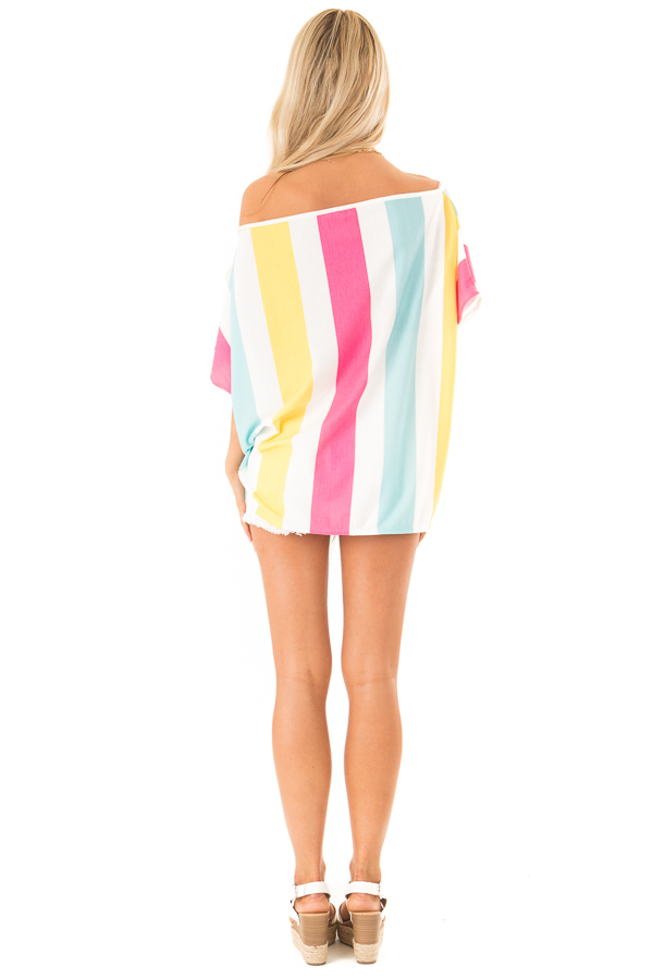 Colorful Striped Off the Shoulder Top with Front Tie back full body
