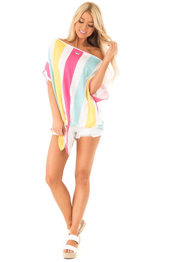 Colorful Striped Off the Shoulder Top with Front Tie front full body