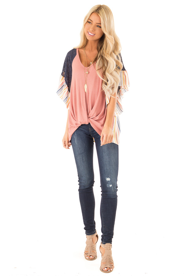 Mauve Top with Contrast Striped Sleeves and Front Twist front full body