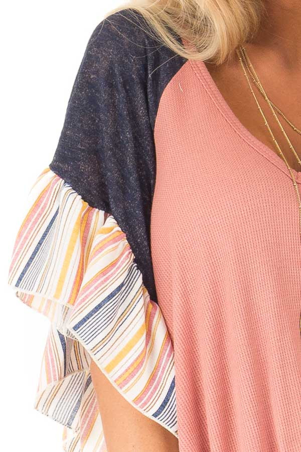 Mauve Top with Contrast Striped Sleeves and Front Twist detail