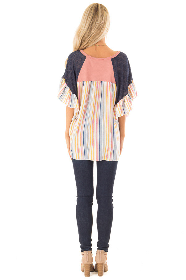 Mauve Top with Contrast Striped Sleeves and Front Twist back full body