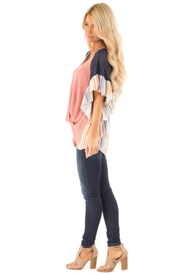 Mauve Top with Contrast Striped Sleeves and Front Twist side full body