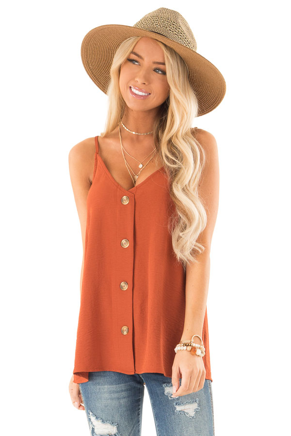 Burnt Orange Button Up V Neck Spaghetti Strap Tank Top front close up