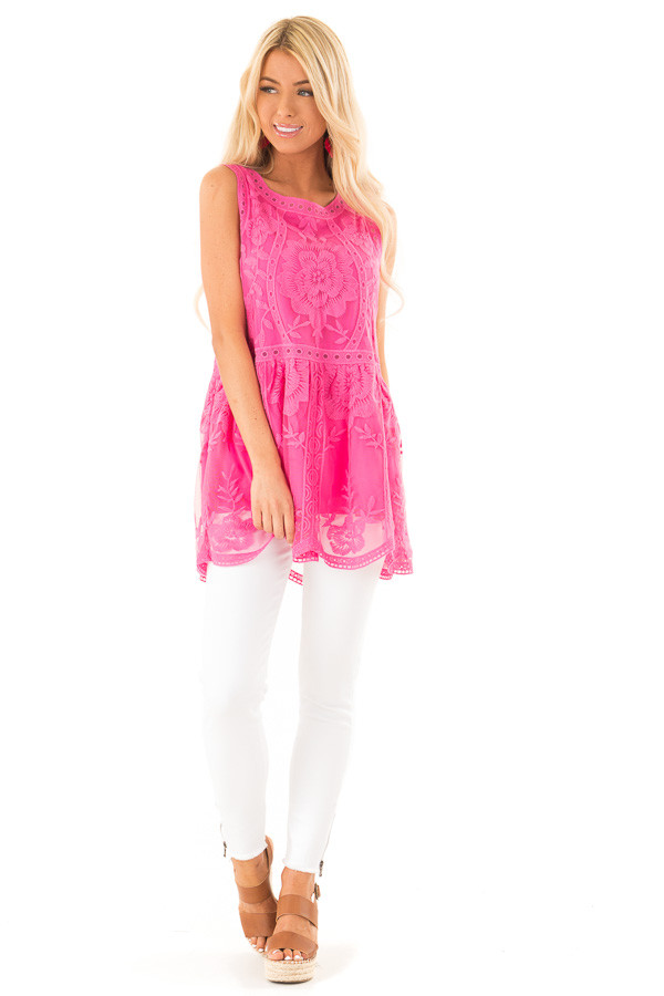 Hot Pink Sleeveless Floral Lace Embroidered Tank Top front full body