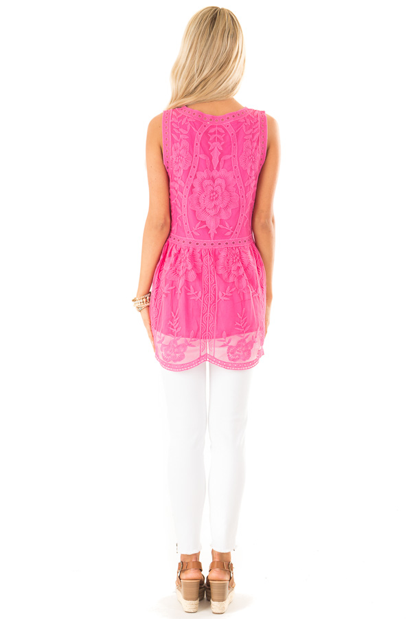 Hot Pink Sleeveless Floral Lace Embroidered Tank Top back full body
