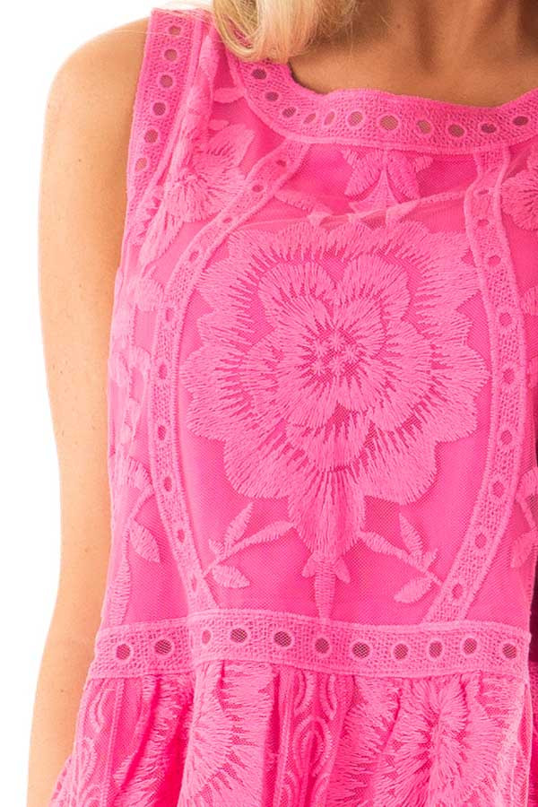 Hot Pink Sleeveless Floral Lace Embroidered Tank Top detail