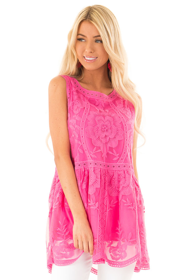 Hot Pink Sleeveless Floral Lace Embroidered Tank Top front close up