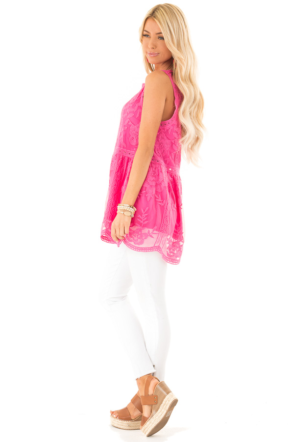 Hot Pink Sleeveless Floral Lace Embroidered Tank Top side full body