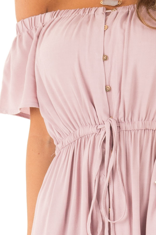 Suave Mauve Off the Shoulder Button Up High Low Dress detail