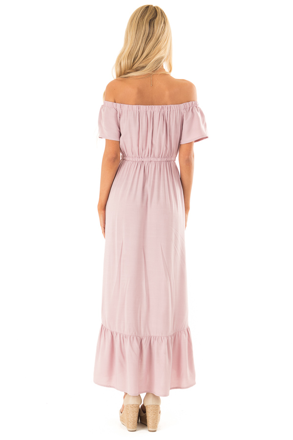 Suave Mauve Off the Shoulder Button Up High Low Dres back full body