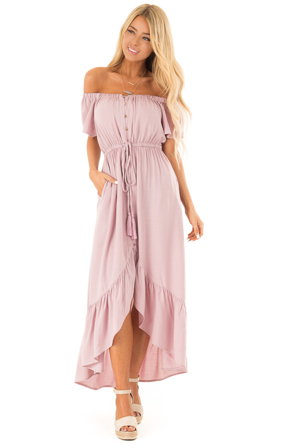 Suave Mauve Off the Shoulder Button Up High Low Dres front full body