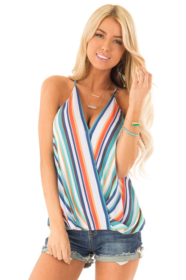 Multicolor Striped Surplice Style Tank Top front close up