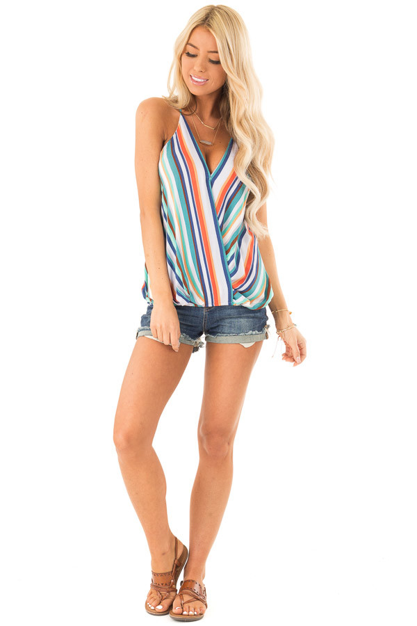 Multicolor Striped Surplice Style Tank Top front full body