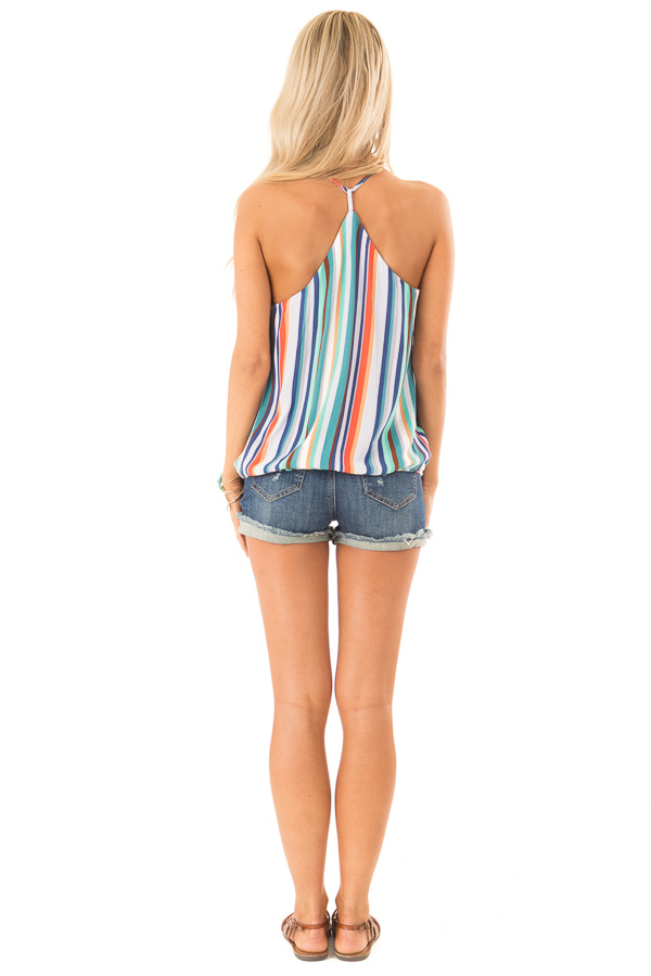 Multicolor Striped Surplice Style Tank Top back full body