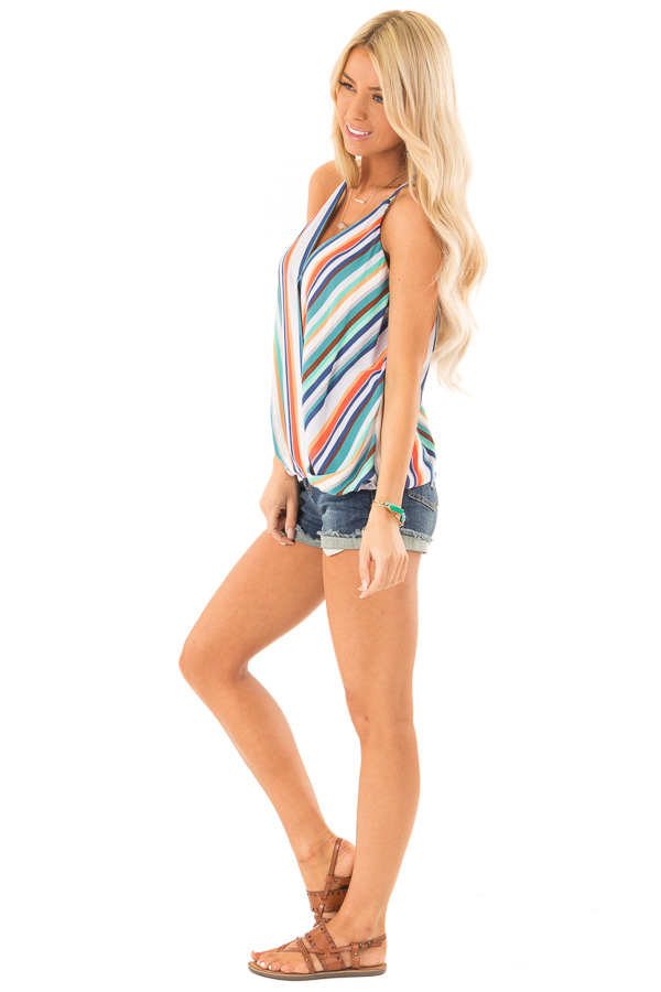Multicolor Striped Surplice Style Tank Top side full body