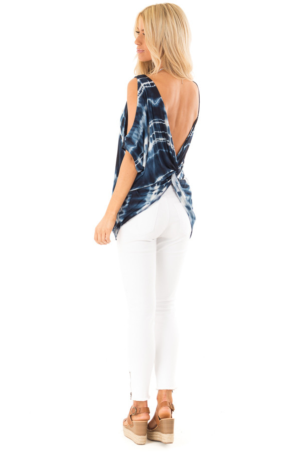 Navy Blue Tie Dye Cold Shoulder Top with Open Back Detail side full body
