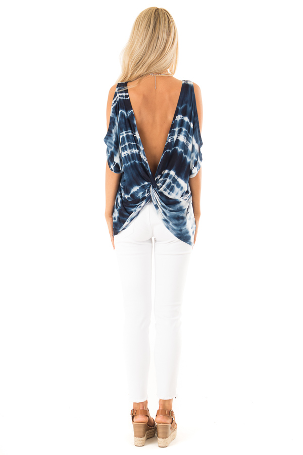 Navy Blue Tie Dye Cold Shoulder Top with Open Back Detail back full body