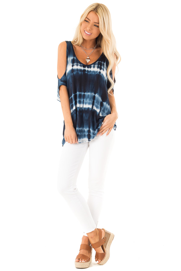 Navy Blue Tie Dye Cold Shoulder Top with Open Back Detail front full body