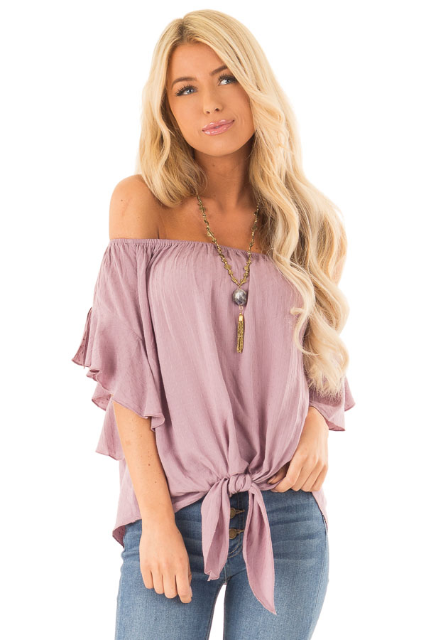 Orchid Haze Off Shoulder Top with Swiss Dots and Front Tie front close up
