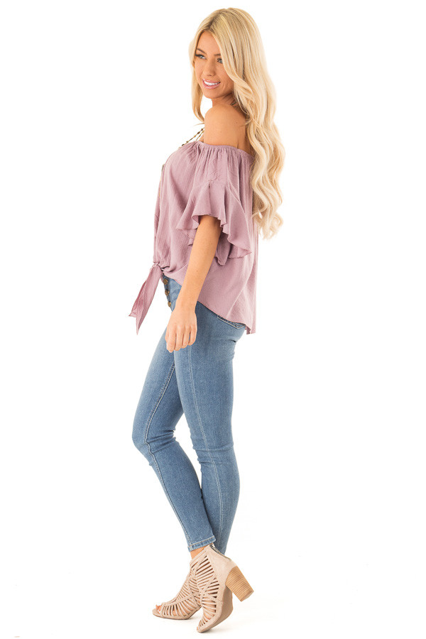 Orchid Haze Off Shoulder Top with Swiss Dots and Front Tie side full body