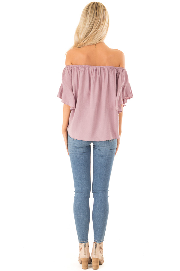 Orchid Haze Off Shoulder Top with Swiss Dots and Front Tie back full body