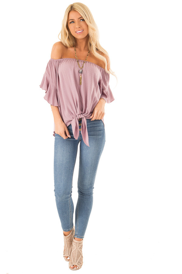 Orchid Haze Off Shoulder Top with Swiss Dots and Front Tie front full body