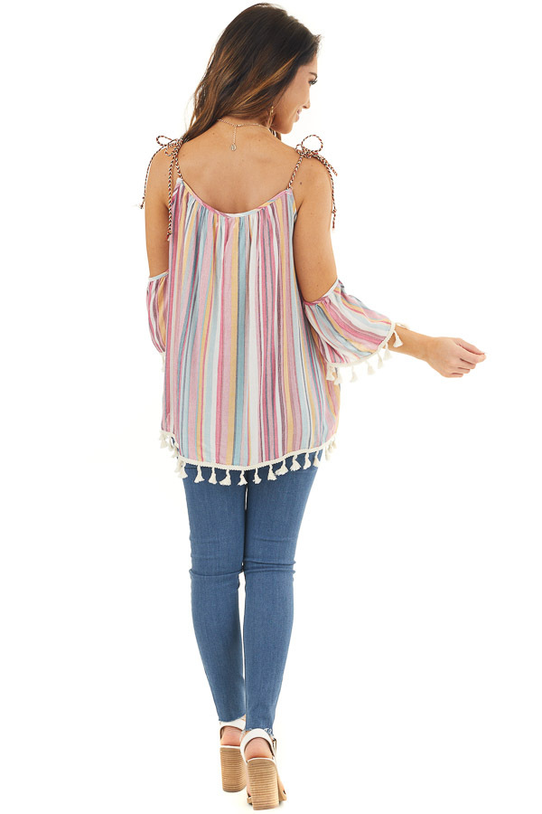 Sky Blue and Fuchsia Striped Cold Shoulder Top with Tassels back full body