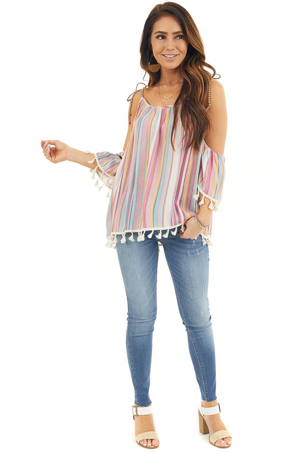 Sky Blue and Fuchsia Striped Cold Shoulder Top with Tassels front full body