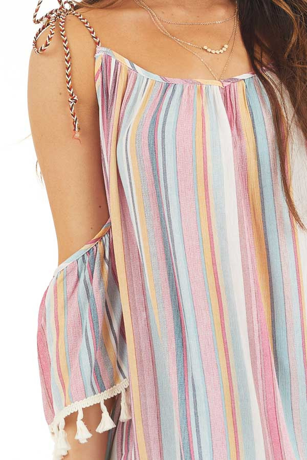 Sky Blue and Fuchsia Striped Cold Shoulder Top with Tassels detail