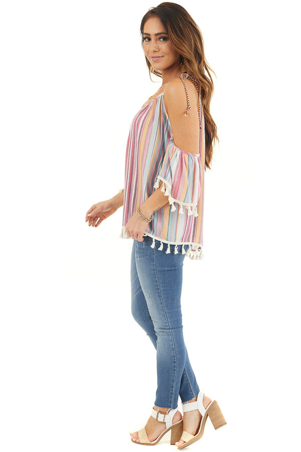 Sky Blue and Fuchsia Striped Cold Shoulder Top with Tassels side full body