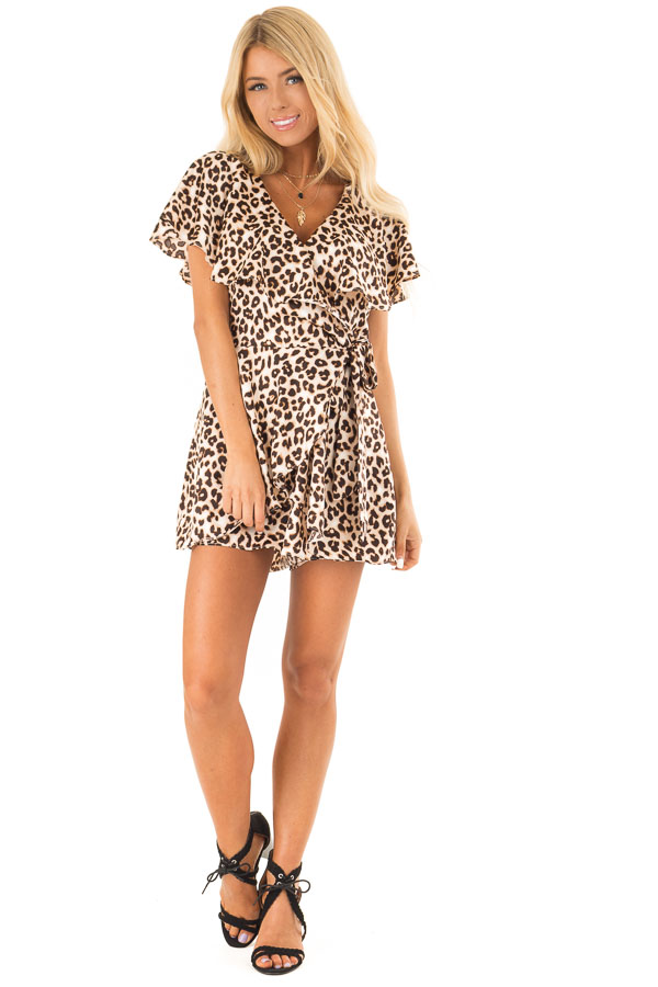 Leopard Print Wrap Style Backless Romper with Waist Tie front full body