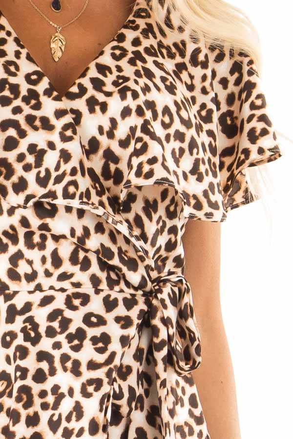 Leopard Print Wrap Style Backless Romper with Waist Tie detail