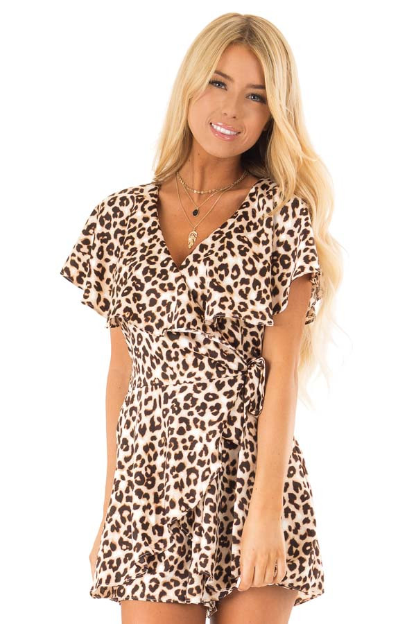Leopard Print Wrap Style Backless Romper with Waist Tie front close up