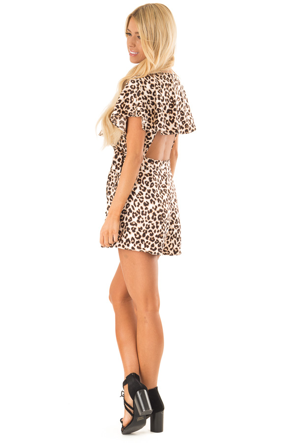 Leopard Print Wrap Style Backless Romper with Waist Tie side full body