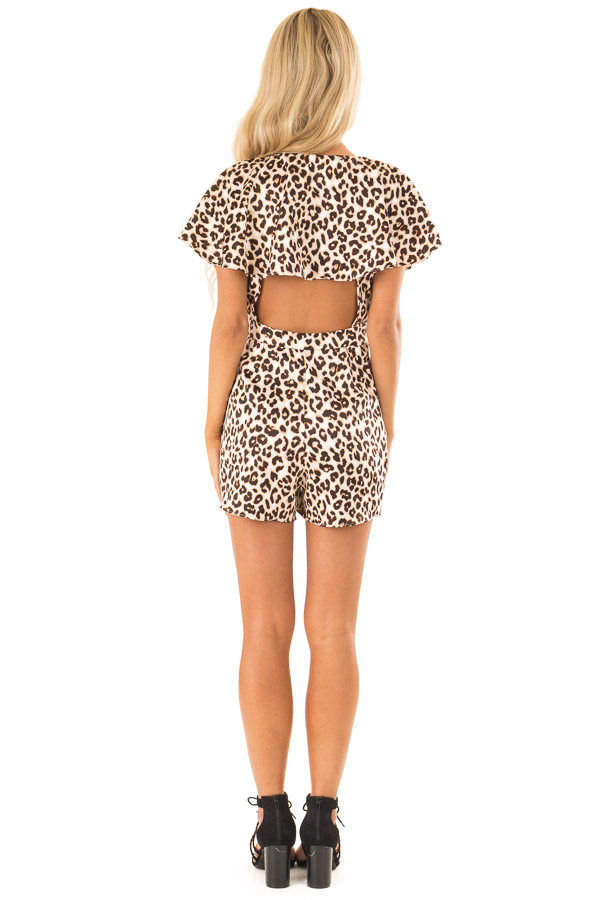 Leopard Print Wrap Style Backless Romper with Waist Tie back full body