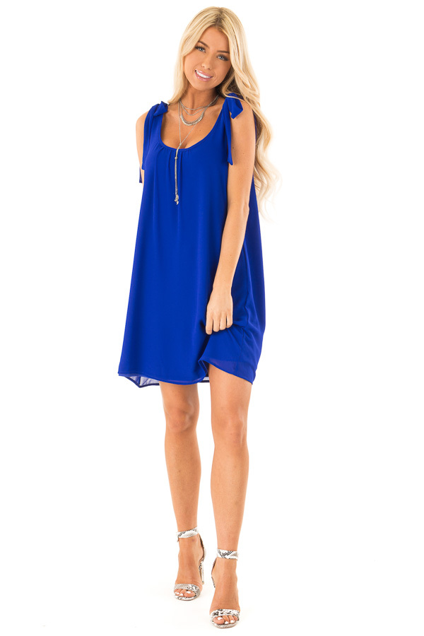Royal Blue Scoop Neck Mini Shift Dress with Shoulder Bows front full body